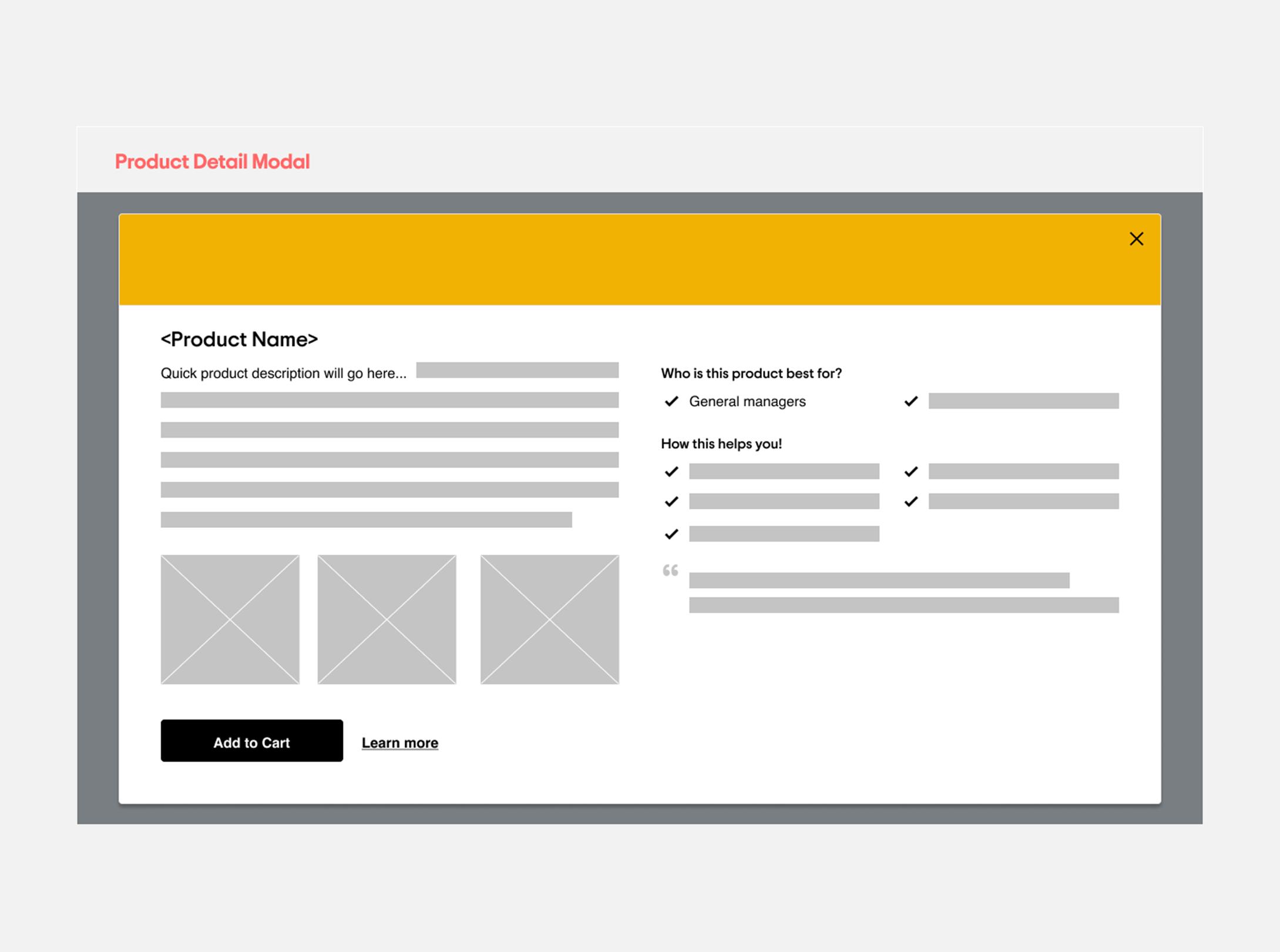 Product Detail Modal – Testimonials